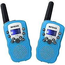 Retevis RT388 Walkie Talkies Niños PMR446 8 Canales LCD Pantalla Función VOX 10 Tonos de llamada Bloqueo de Canal Linterna Incorporado (Azul, 1 Par)