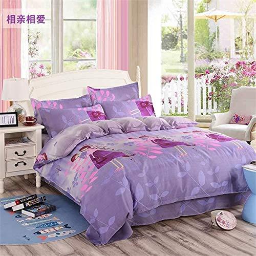 Fcao-Bettwäsche, 3 / 4pc Easy Care Tagesdecke Dekorative Bettbezug Set Korean Style Bettlaken Set Kinder Einzelbettwäsche Kissenbezug (Color : Plum, Size : Queen) -