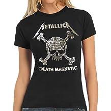 Metallica Death Magnetic mosaico calavera mujer camiseta de manga corta S–XL, mujer, Black - black, large