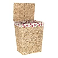 Costello® HQ LARGE WICKER LAUNDRY BASKET HAMPER TRUNK CHEST WITH FLORAL COTTON LINING VINTAGE KIDS TOYS CLOTHES MAGAZINES NEWSPAPER STORAGE BEDROOM BATHROOM KITCHEN