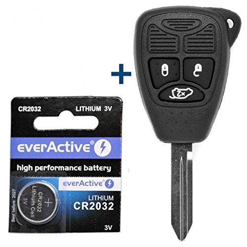 Auto Schlüssel Funk Fernbedienung 1x Gehäuse 3 Tasten + 1x Rohling + 1x CR2032 Batterie für Chrysler / JEEP Dodge