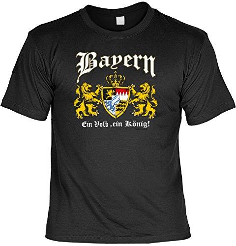 König Lustig T-shirt (T-Shirt mit Urkunde - Bayern Wappen - Ein Volk - Ein König - Lustiges Sprüche Shirt als Geschenk für echte Bayern mit Humor)