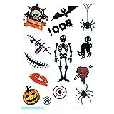 Halloween Fake Tiny Temporäre Tattoo Body Aufkleber Farbe Zeichnen stickershand Hals Handgelenk Art Fashion, Sc-803 Skeleton, 18 * 10cm