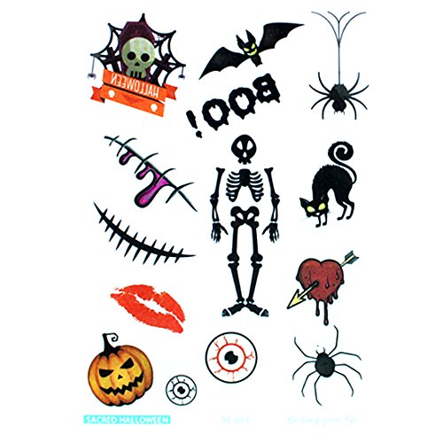 (Halloween Fake Tiny Temporäre Tattoo Body Aufkleber Farbe Zeichnen stickershand Hals Handgelenk Art Fashion, Sc-803 Skeleton, 18 * 10cm)