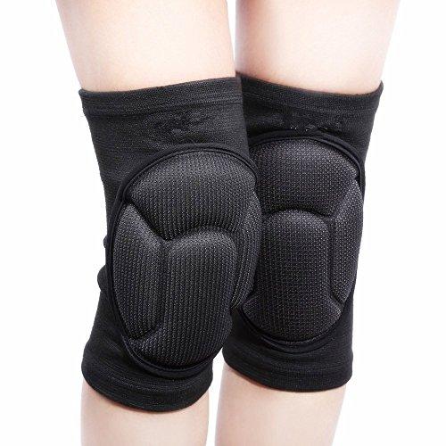 1 par espesan voleibol rodilleras se preparan para la rodilla de protección ayuda de la rodilla -Deportes protector del cojín de Rugby de la rodilla (Black)