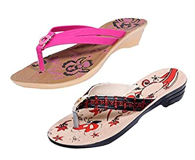 Indistar Girls Comfortable Flip Flop House Slipper And Sandal-8 IND/UK-Cream/Red/Brown+Pink- Pack Of 2 Pairs