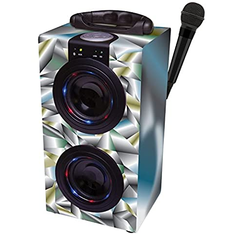 Lexibook Rechargeable Wireless Portable Bluetooth Speaker Karaoke Machine and Microphone, Supports Bluetooth Enabled Devices, USB Flash Drive, SD Card and Aux-in Connection (3+ Years) - Space Grey