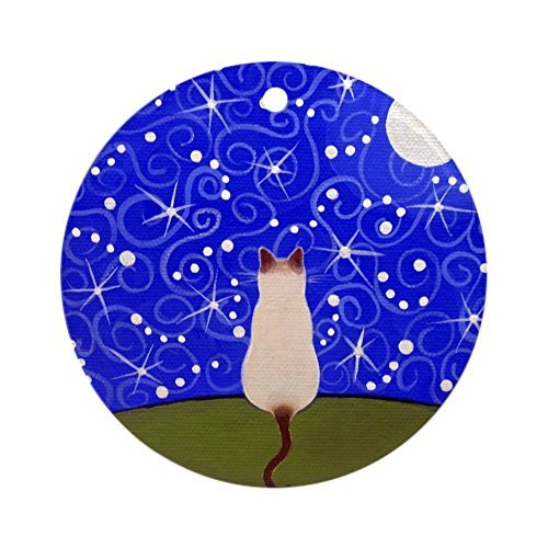 Enidgunter Siamesische Katze Sternennacht Porzellan Ornament - Rund Urlaub Weihnachten Ornament -