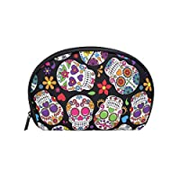 TIZORAX Day of The Dead Sugar Skull Cosmetic Bag Travel Handy Organizer Pouch Makeup Bags Purse for Women Girls