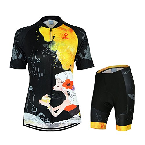 GWELL Damen Fahrradtrikot Set Fahrrad Anzug Trikot Kurzarm + Radhose mit 3D Sitzpolster Muster-C L