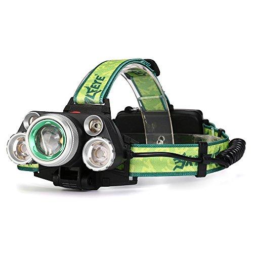 Ulanda-EU LED Stirnlampe, 5X CREE T6 USB Wiederaufladbare LED Kopflampe, 35000 Lumen wasserdichter Scheinwerfer mit 4 Lichtmodi. Perfekt zum Laufen, zum Campen, zum Wandern und zum Spazierengehen