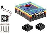 9 Couche Coque cas kit avec ventilateur et Dissipateur thermique pour Raspberry Pi 3 (Arc-en-ciel)