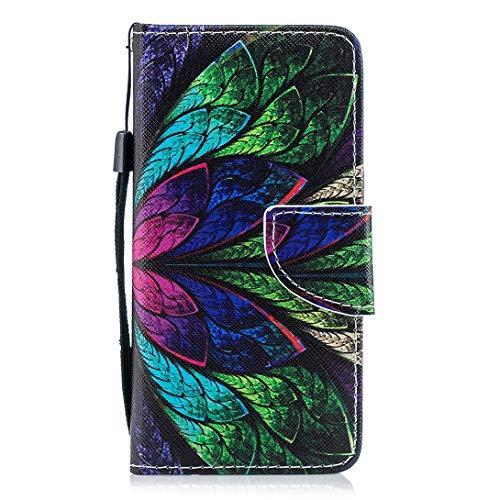 Kompatibel mit Hülle Huawei P10 Handytasche Handyhülle Flip Case Tasche Schutzhülle Vintage Bunt Brieftasche Hülle Ledertasche Dünn Klappbar Lederhülle Bookstyle Klapphülle,Pfau Feder