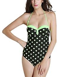 FEOYA - Ropa de Baño Bañador Mujer Tallas Grandes Reductor Push up Traje de Natación Una pieza Swimsuit Backless Estampado Floral - Rojo Verde Azul - Talla L XL XXL 3XL
