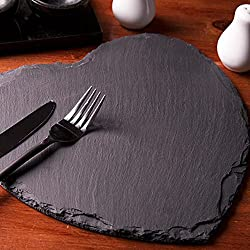 Atoz prime [10x10cm]Popular Heart Shape Natural Slate Solid Steak Plate Cheese Tray Baking Tools Tableware Sushi Dish Barbecue Tray