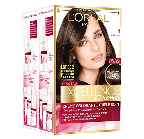 L'Oréal Paris - Excellence Crème - Coloration Permanente Triple Soin 100% Couverture Cheveux Blancs - Nuance 4 Châtain - Lot de 2