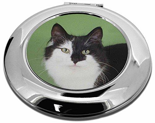 Schwarz und Weiß Katzen Gesicht Make-up Taschenspiegel Rund Weihnachten Geschenk