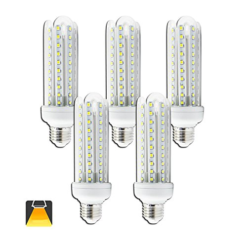 Aigostar - confezione da 5 lampadine led b5 t3 4u, 19w, attacco grande e27, 1500 lumen, luce calda 3000k [classe di efficienza energetica a+]