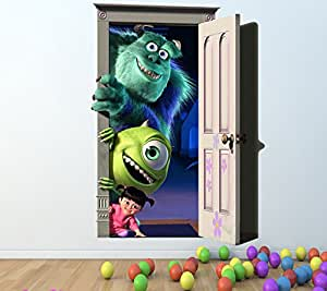 MONSTERS INC FULL COLOUR WALL STICKER - GIRLS BOYS DISNEY BEDROOM C125 Size: Large