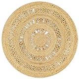 Festnight- Teppich Handgefertigt Juteteppich Handwebteppich Läufer Schlafzimmer Flur Geflochtene Jute Wohnzimmerteppich Rund 90 cm