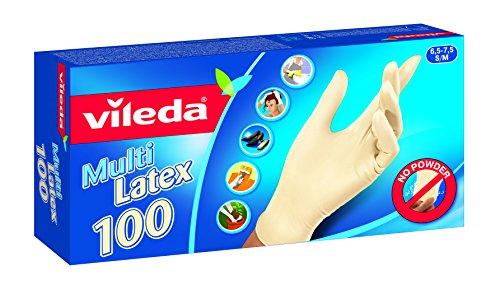 Vileda Multi - Einmalhandschuhe aus Latex, Größe S/M, 1er Pack (1 x 100 Stück)