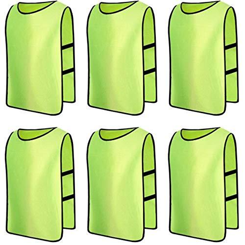 6 X Senston Sport pinnies adulti Rissa di formazione maglie calcio Pettorali verde fluorescente e 3 Dimensioni