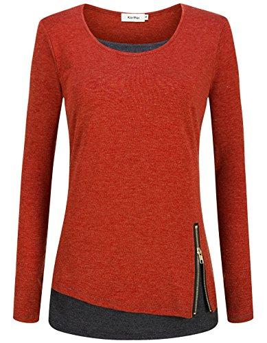 KorMei Damen Langarmshirt Rundkragen Layered Zip Faux Twinset T-Shirt Orange&Dunkelgrau XL (Layered T-shirt)