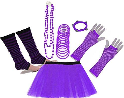 Lila Für Erwachsene Tutu Kostüm - A-Express 80er Damen Neon Tütü Rock Beinstulpen Fischnetz Handschuhe Tüll Fluo Ballett Verkleidung Party Tutu Rock Kostüm Set (36-44, Lila)