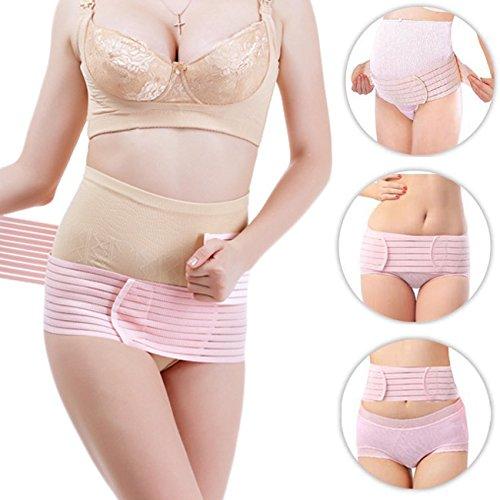 FITTOO Weiche Atmungsaktive Max.130 cm Schwangerschaftsbandage aus Baumwolle Bauch Rücken Unterstützung für Schwangeren Rosa, One Size