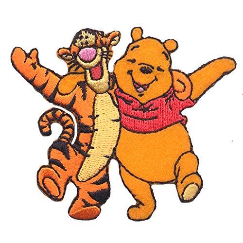 Aufnäher/Bügelbild - Winnie Puuh 'Winnie & Tiger' Disney - gelb - 7,5x6,4cm - Patch Aufbügler Applikationen zum aufbügeln Applikation Patches Flicken -