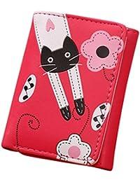 DZT1968 Women Cute Cat Flowers Pattern Hasp Coin Purse Short Wallet 11.5cm9cm (Hot Pink)
