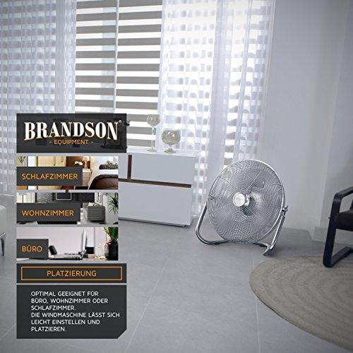 Brandson – Windmaschine Retro Stil 120 Watt | Ventilator in Chrom | Standventilator 50cm | Bodenventilator | hoher Luftdurchsatz | stufenlos neigbarer Ventilatorkopf | silber Bild 5*