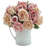 JUNGEN Bouquet Fleur Lotus en Silk Plante Artificiel Fleur Créatif Accessoires Organisation Bonsai du Lait Déco DIY pour Fête Mariage Maison Rose