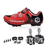 TXJ Mountain MTB Fahrradschuhe Radsportschuhe mit Pedale EU Größe 43 Ft 27cm (SD-001 Rot/Schwarz)(pedale schwarz)