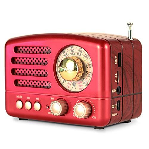 PRUNUS Klassisches Retro-Holz Design FM AM(MW) SW SD USB MP3 Bluetooth Transistor Laderadio mit Lautsprecher, unterstützt AUX-Funktion, 270° großes Kompass Tuning Fenster. (Rot)