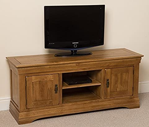 French Rustic Solid Oak Widescreen Tv Cabinet Unit DvD Hi-Fi Entertainment Stand , (140 L x 43 D x 61 H cm) by OAK FURNITURE KING