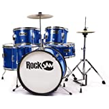 RockJam Complete 5-Piece Junior Drum Set with Cymbals, Drumsticks, Adjustable Throne and Accessories - Blue