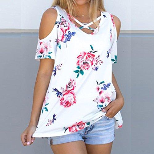 T-shirt donna Vovotrade Coltura senza maniche in chiusura a maniche corte senza stampa bianca