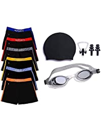 GOLDEN GIRL Men's Swimming Shorts, Silicone Swim Cap, Goggle, 2 Pair Ear Plugs and 1 Nose Clip, Above 21 Years (Black)