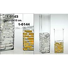DonRegaloWeb - Jarrón de cristal decorado en color transparente y dorado