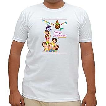 TIA Creation Born Baby's Happy Janmashtami - 20 Round Neck Printed T-Shirt (White) - ITSRT0126