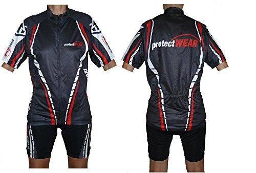 protectWEAR Fahrradtrikot-Set, Radtrikot-Set bestehend aus Hose Kurz und Halbarmshirt, Rot/Schwarz/Weiß, XXL