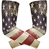 Wamika Arm Sleeve For Men Women Patriotic Vintage American Flag Uv Protection Cooling Long Sports Compression Cover Arms Tattoo Sleeves Perfect For Baseball Football Basketball Running - 1 Pair