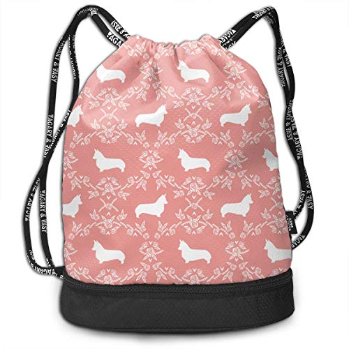 Ovilsm Turnbeutel Corgi Breed Silhouette Florals Sweet Pink Drawstring Bag Rucksack Shoulder Bags Travel Sport Gym Bag Print - Yoga Runner Daypack Shoe Bags with Zipper and Pockets (Sweet Feet-muster)