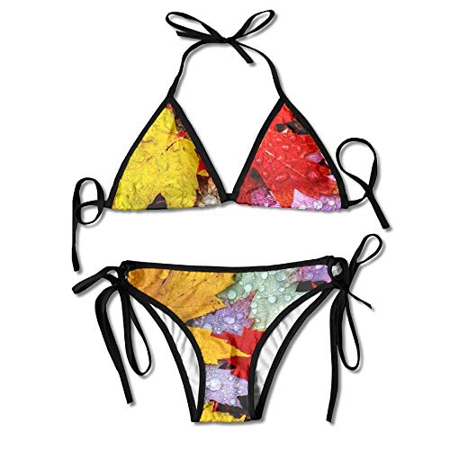 Drop-leaf Top (Women's Colorful Adjustable Big Water Drops On The Autumn Leaves Sexy Bikini Set 2 Piece)