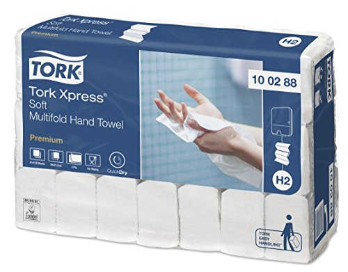 Tork 100288 Xpress Essuie-mains interfoliés doux Premium / Compatible avec le système Tork H2 Multifold / 2 plis / 21 x 110 feuilles (34 x 21 cm) - Blanc