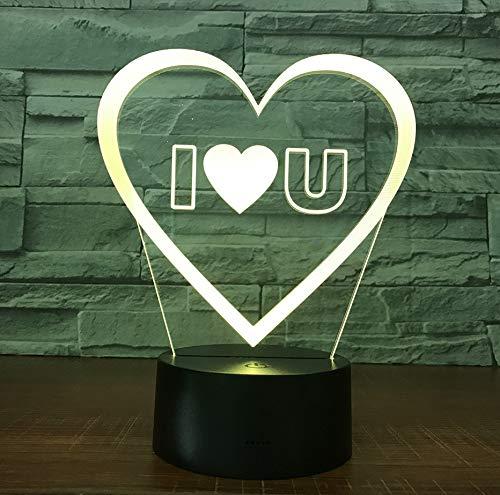Te Amo Amante Dulce Corazón Del Globo Lámpara Llevada 3D Usb Lámpara Romántica Decorativa Colorida Luz De La Noche Novia Aniversario Regalo De