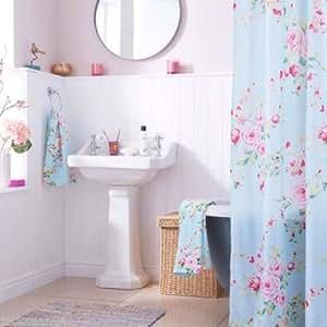 duschvorhang haltbar rosa blau rosen 180cm x 180cm mit haken k che haushalt. Black Bedroom Furniture Sets. Home Design Ideas