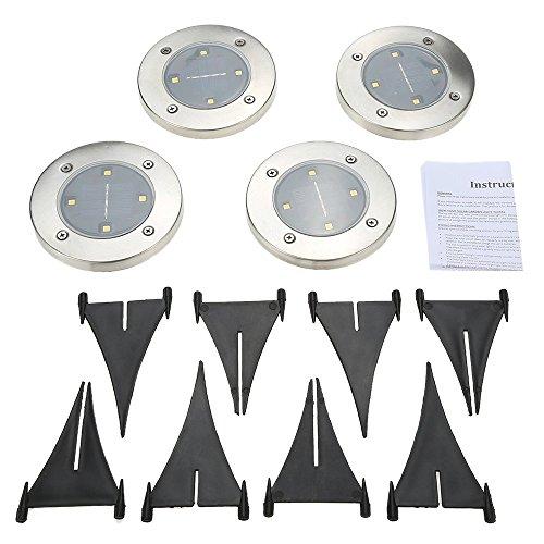 Tomshine 4pcs Solarbetriebene LED Bodeneinbauleuchte Außenleuchte Wasserdicht 4 LED 40LM Pfad Garten Landschaft Spike Beleuchtung für Hof Auffahrt Rasen Weiß / Warm Weiß - 2