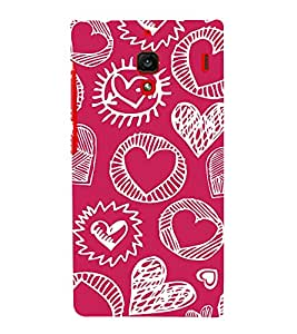 Fabcase pink funky love sketch Designer Back Case Cover for Xiaomi Redmi 1S